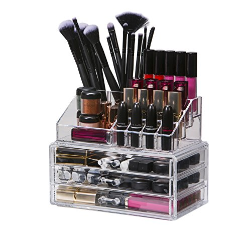 Organised Beauty 2 Piece Clear Acrylic Makeup Storage/Jewellery/Cosmetic/Nail Polish/lipstick Organiser Display Stand 3 Drawers |19 Sections | High Grade 3mm Acrylic