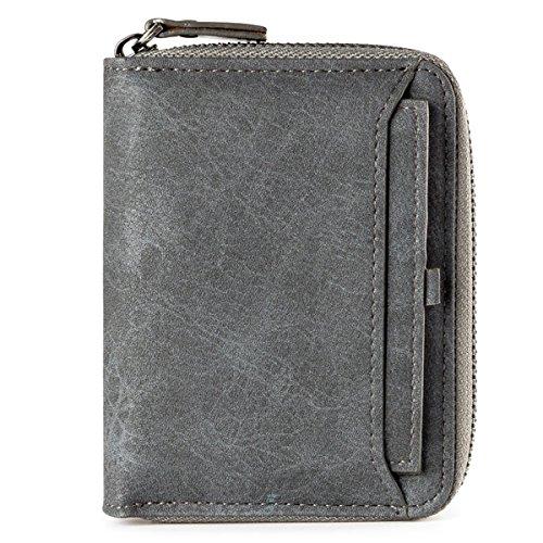 Ledergeldbörse Geldbeutel Geldbörse Portemonnaie Ledergeldbeutel Brieftasche Herren Mini-Geldbörse aus echtem Leder mit RFID Schutz für Damen Herren, Smarter Geldbeutel und Karten-Brieftasche Grau