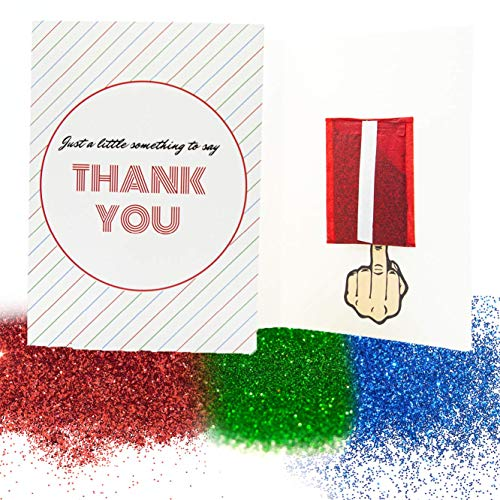 Pranks Anonymous Glitter Prank Card - Glitter Bomb Greeting Cards - Congratulations, Happy Birthday, Thank You & Other Funny Cards - Prank Mail for Adults - (Just a Little Something to Thank You, 3x)