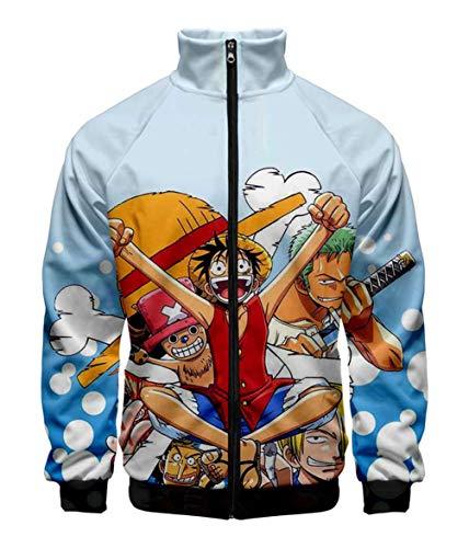 Cosstars Anime One Piece Luffy 3D Impresión Chaqueta Bomber Jacket Cosplay Disfraz Zip Sweatshirt Abrigo Harrington 1 XXS