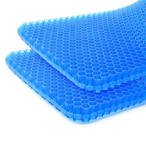 Azue ゲルクッション 2020 チェアパッド 座面クッション 座布団 ハニカムクッション 無重力 車 腰痛 椅子 ブルー*二枚セット