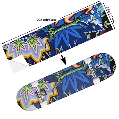 Keceur Colorful Skull Marijuana Leaf Weed Skateboard Grip Tape Longboard Griptape Scooter Sticker Sandpaper for Rollerboard,Stairs,Pedal 9.5 X 33.5 Inches