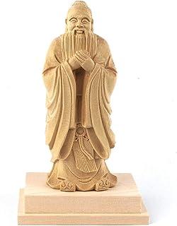 栗田仏像ブランド【儒教神像】桧木製 孔子立像(総高19cm、台幅11cm、台奥行き8cm)四角台 14981