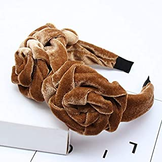 Hair band Fashion Elegant Hair Accessories Three Rose Flowers Velvet Headband for Women Solid Color Novelty Hairband MJZCUICAN (Color : Khaki, Size : Free)