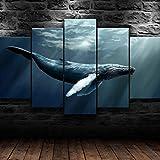 WHYQZ Impreso sobre Lienzo De 5 Piezas De Lienzo Ballena, Submarino, océano Impreso Mural 5 Piezas Impresiones En Lienzo Decoración para El Arte De La Pared del Hogar Salón Oficina