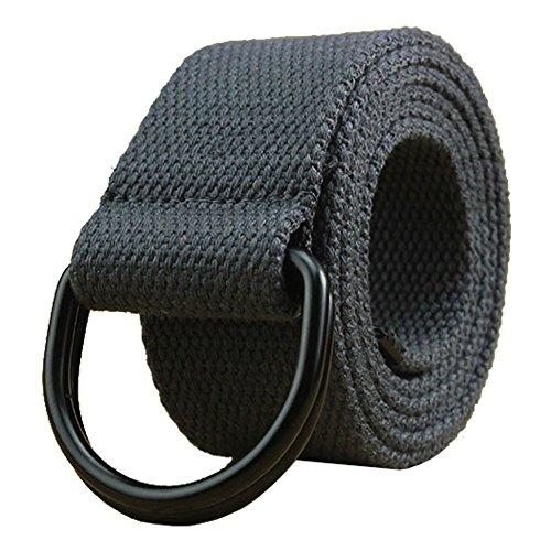 Cinturón de lona para hombre y mujer con anillo en D negro de 1 1/2 pulgadas de ancho extra largo color sólido Anillo gris oscuro+negro cintura 91/99 cm