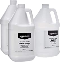 AmazonBasics All Purpose Washable School While Liquid Glue, Extra Strong, 1 Gallon, 2-Pack with All Purpose Washable School Clear Liquid Glue, 1 Gallon