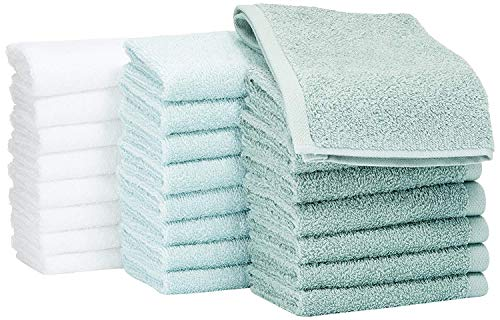 Amazon Basics Fast Drying, Extra Absorbent, Terry Cotton Washcloths, Seafoam Green/Ice Blue/White - Pack of 24