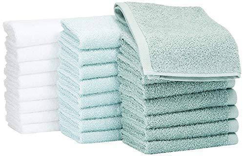AmazonBasics - Asciugamani in cotone, confezione da 24, Verde Acqua, Blu Ghiaccio, Bianco