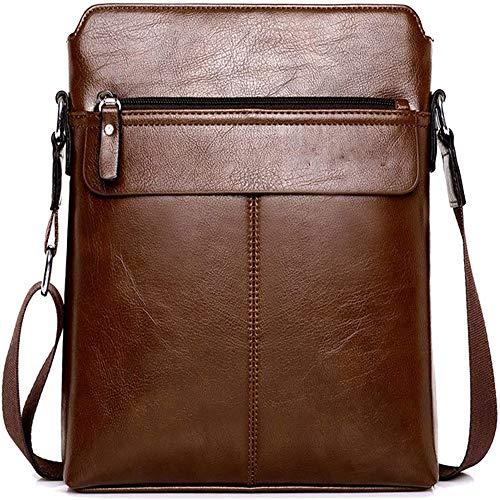 Herren Ledertasche Umhängetasche Klein Vintage Messenger Bag Für 9.7 Zoll Ipad Moderne Leder Schultertasche,Braun,Black,29X24x5cm,B