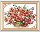 Kits de punto de cruz contados -Cesta gruesa de flores 30x40cm- Kit de bordado a mano con patrón de punto de cruz Diy Kit de bordado impreso Set decoración del hogar