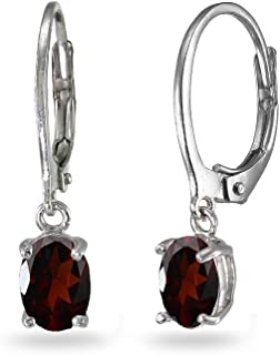 925 Sterling Silver Rhodium-plated 6x4mm Oval Garnet January Stone Leverback Dangle Earrings