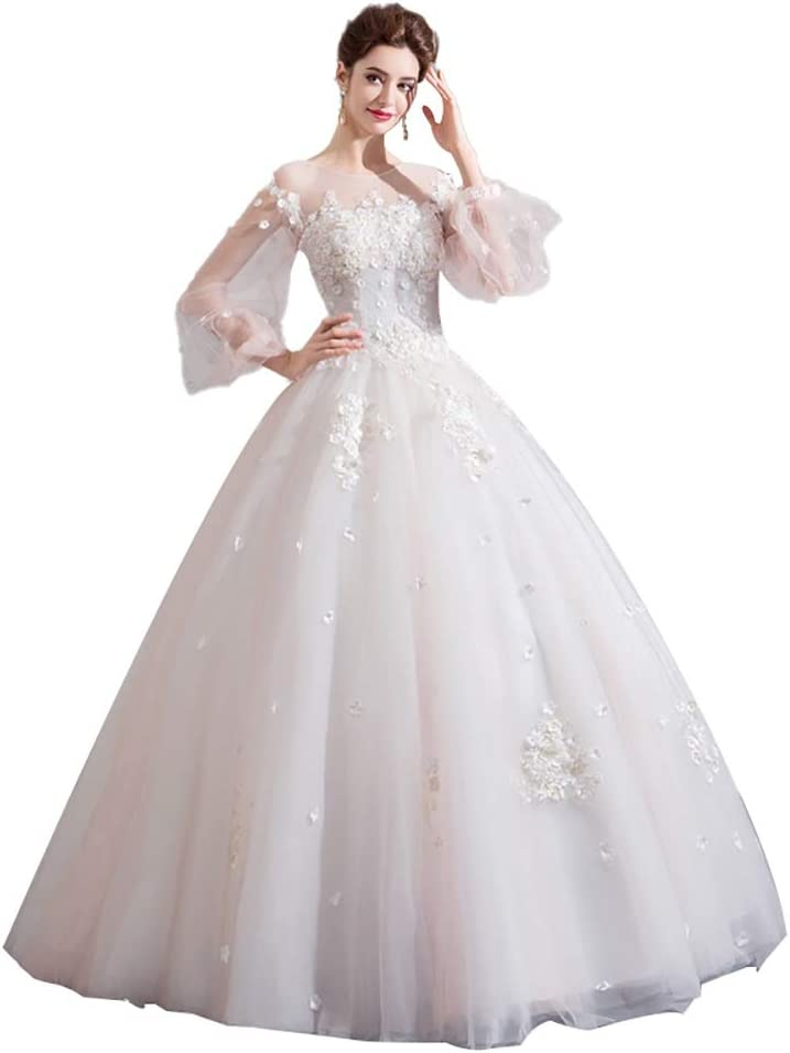 zjyfyfyf Women's Wedding Dress Evening Dress Unique Lace Party Dress Floral and Embroidered Elegant Cocktail Prom Dress (Color : White, Size : Large)