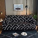 WXQY Funda de sofá elástica Estampada, Antideslizante, Suave, Creativo, Negro, patrón geométrico, Funda de sofá, Funda de sofá, A1, 3 plazas