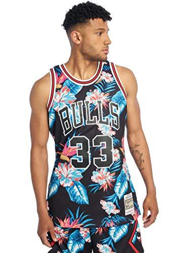 Mitchell & Ness NBA Chicago Bulls Swingman - Camiseta para hombre, Todo el año, Diseño de flores., Hombre, color carbón, tamaño L