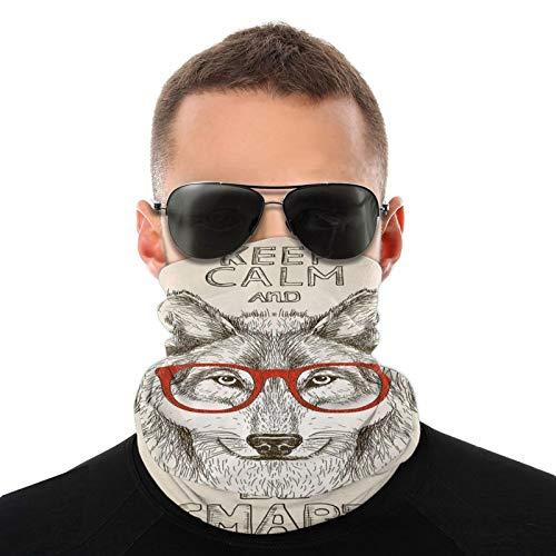FULIYA Bufanda de cabeza variada, diseño de lobo con gafas y tipografía inteligente para exteriores, multifuncional, para hombres y mujeres