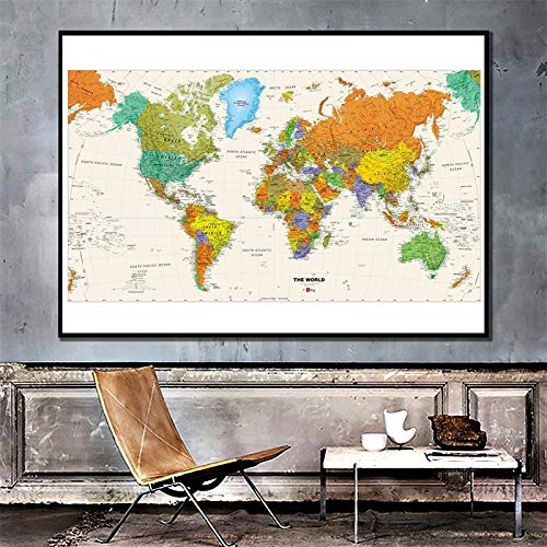 NLLeZ 1pc The World Map Fisical Map 150x225cm Mapa Plegable Impermeable sin...
