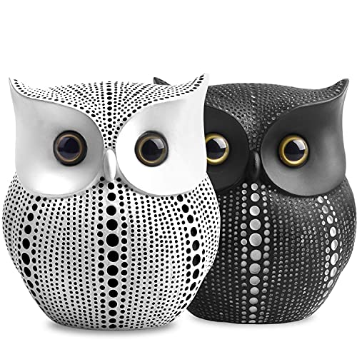 Small Crafted Owl Statue (Bundle with Black Owl and White Owl) for Home Decor Accents, Living Room Bedroom Office Decoration, Book Shelf TV Stand Decor - Sculptures Collection Gifts for Birds Lovers