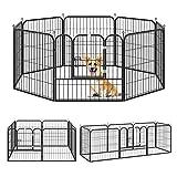 Pawhut Parque para Mascotas Perros 8 Vallas 79x79 cm Corral Plegable con Puerta y Doble Pestillo Paneles Metálicos...