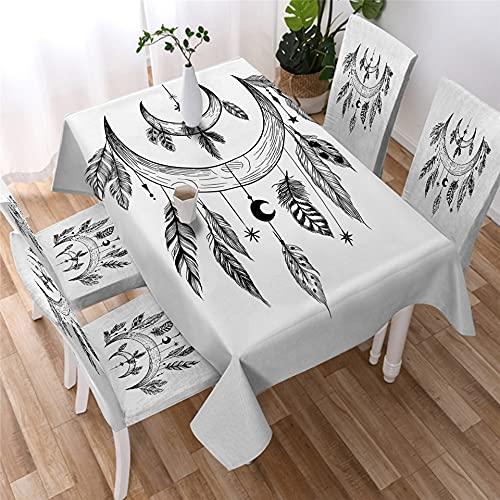 XXDD Mantel de Mandala Dorado Simple Estrella Luna Mantel Impermeable decoración Mantel de Restaurante Cubierta de Mesa A12 140x200cm