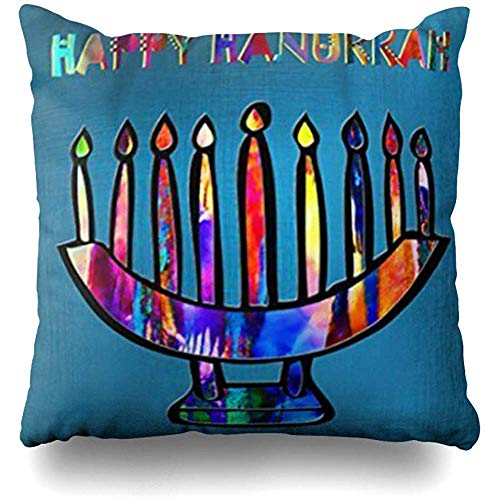Throw Pillow Covers Happy Hanukkah Pillowslip Square Sofa Cute 18 x 18 Inches Cushion Cases Pillowcases