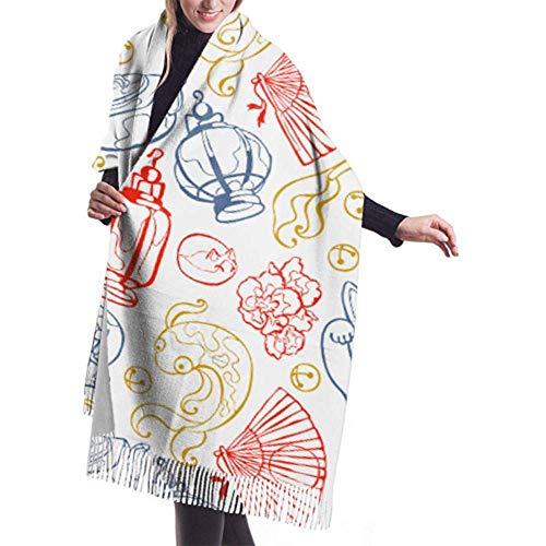 Laglacefond Winter sjaal Cashmere feel Japanse aardewerk theepot Lotus Flower sjaal stijlvolle sjaal wraps zachte warme deken sjaals