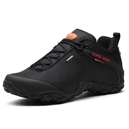 XIANG GUAN Herren Outdoor Wasserabweisende Trekking Schuhe Wanderschuhe atmungsaktiv bequem 81283 Schwarz 40