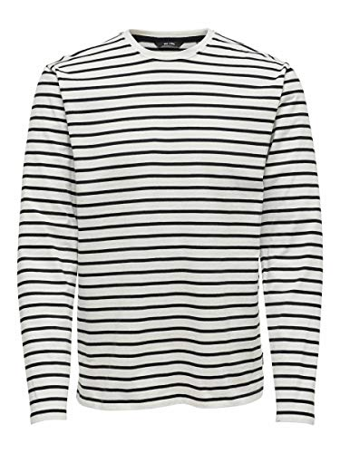 ONLY & SONS Male T-Shirt Striped LCloud Dancer 1