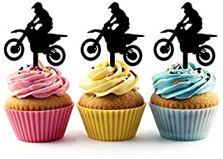 Extreme Motocross Racing Silhouette Acrylic Cupcake Toppers 12 pcs