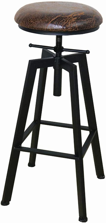 LJFYXZ Bar Stool bar Chair Elevating redary PU Cushion Kitchen Chair Retro Style High Stool Bearing Weight 200kg Adjustable Height 60-80cm (color   Black)