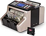 Money Counter Cash Bill Automatic Counterfeit Detection with UV/MG/IR/MT Function Counting Machine w/External Display 1,000 Notes Per Minute for Mix Notes LED Display 'Does not Count Value' (Black)