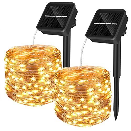 Yizhet 2 Piezas Guirnaldas Luces Exterior Solar,10M 100 LED Cadena de Luces Solares 8 Modos Guirnaldas Luminosas Solar Impermeable Decoración para Navidad, Fiestas, Bodas, Jardines(Blanco Cáli