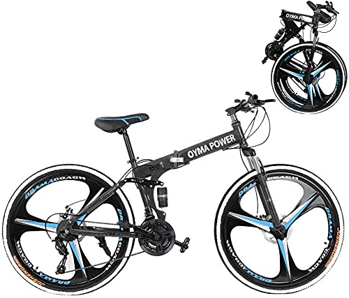 Astrong Mountain Bike, 26 inch Trek Folding Road Bike with 21 Speeds Dual Disc Brakes, Sports Wheels, Non-Slip Mountain Riding MTB Bicycle Teens Adult Cycling Outdoor (Black)