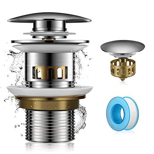 Aitsite Universal Ablaufgarnitur, Pop-Up Ventil Waschbeckenstöpsel mit überlauf für Waschtisch/Waschbecken