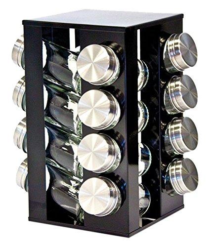 Gewürzregal mit 16 Gewürzgläsern, drehbar, Metallic-Design, erhältlich in Rubinrot, Onyxschwarz und Quartssilber onyx