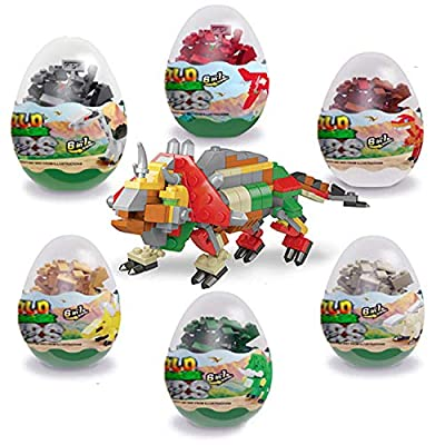 auryee 12 Pcs Pre Filled Easter Eggs with Dinosaurs Building Blocks,Educational Toy Perfect for Mini Animal Dinosaur Party Favor for Boys & Girls by JGM inc