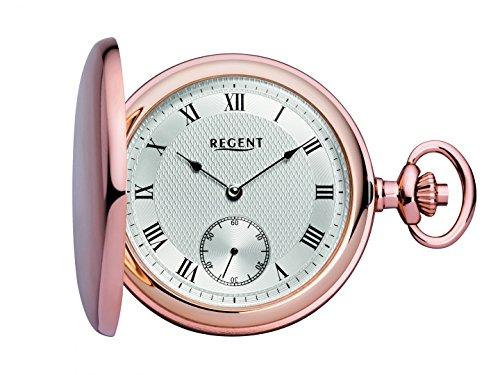 Regent mechanische Taschenuhr mit Sprungdeckel rosé 31874 inkl. Gravur
