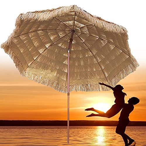 XINGG Sombrilla De Paja Tiki para Patio De Paja De 240cm, Sombrilla Plegable Hawaii con Función De Inclinación, Ángulo Ajustable Gratis, Protección UV, para Playa Jardín Piscina