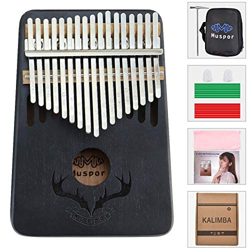 Kalimba 17 Schlüssel,Kalimba Daumenklavier, 17 Schlüssel Daumen-Klavier,solid Finger Klavier,mit Stimmhammer, Klaviertasche, Studienanleitung, Für Kinder Anfänger