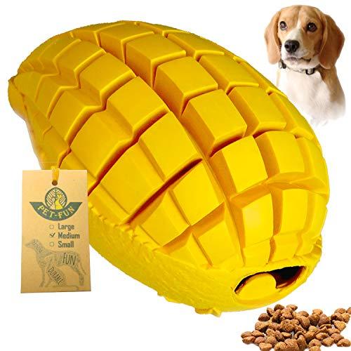 Pet-Fun Jouet à mâcher en caoutchouc ultra-durable pour chien à mâcher agressif, distributeur de friandises pratiquement indestructible, jouet à mâcher pour nettoyer dentaires et dentition