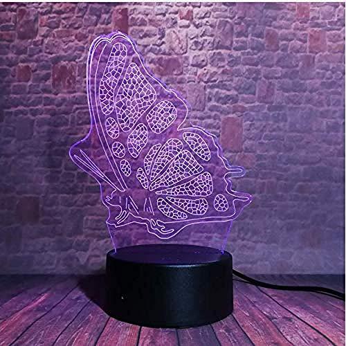 3D Illusion Lampe Led Nachtlicht 3D Led Lampe Nachtlicht Hauptdekoration Ändern Acryl Spielzeug Valentinstag Kind Schmetterlings-Flügel-Gefühls-Licht-Tabellen-Ausgang Des Tiermärchen-3D