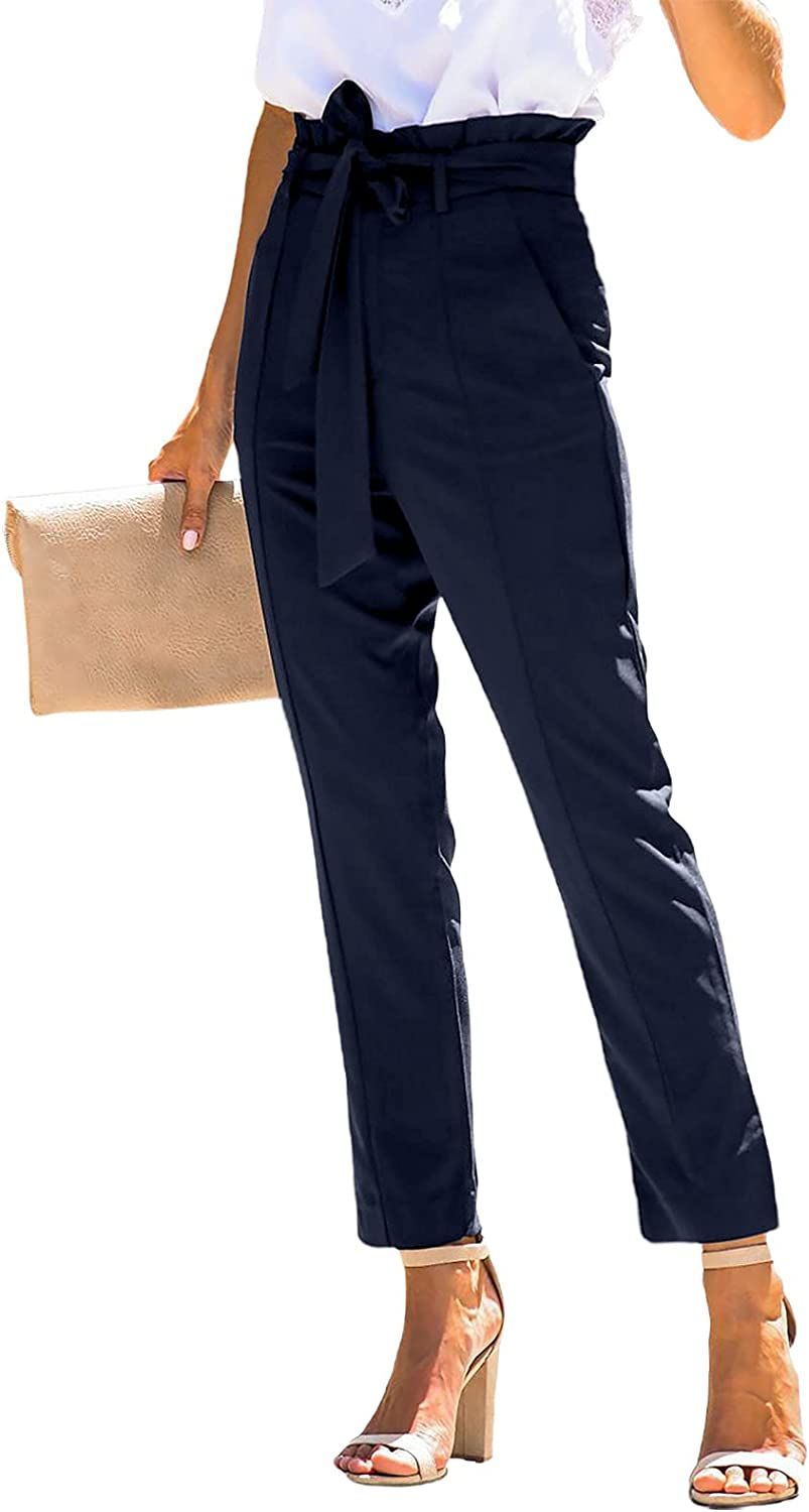 Astylish Womens Casual Solid Color Paper Bag Waist Long Pants High Waist Pants Trousers with Pocket