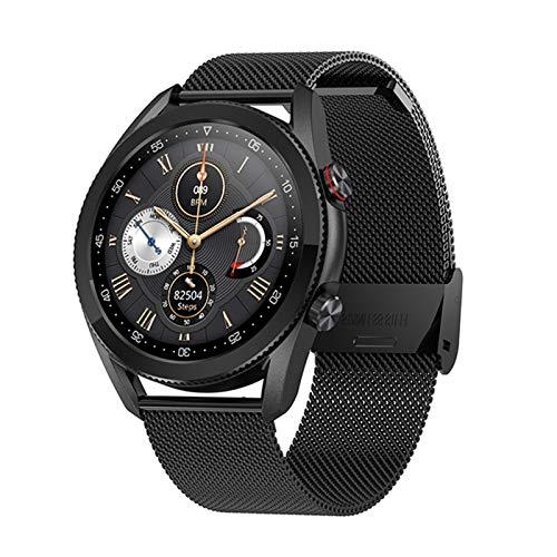 XXY Nueva Llamada Bluetooth Smart Watch Men Pantalla Táctil Completa IP68 ECG Impermeable ECG Ritmo Cardíaco SmartWatch Música Play Deportes Pulsera (Color : Mesh Black)