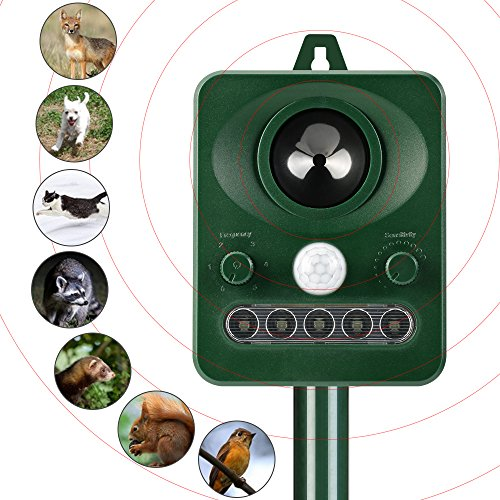 Cat Repellent Animal Repeller Solar Animal Repellent Scarer Ultrasonic Solar Powered Cat Repeller Outdoor Waterproof Application in Yard, Lawn, Garden, Park and Farm
