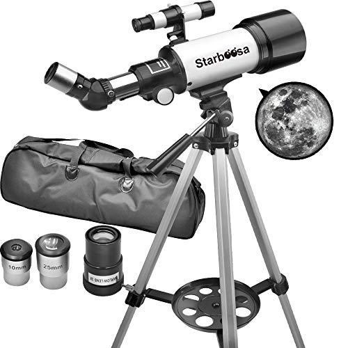 Starboosa Telescope Travel Scope for Kids Beginners 70mm Aperture 400mm AZ with Tripod Eyepiece Finder - Telescope with Carry Bag and Smartphone Adapter for Kids Beginner