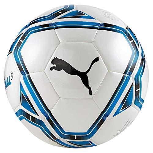 PUMA 83309 Unisex Erwachsene, teamFINAL 21.5 Hybrid Ball Fußball, White-Electric Blue Lemonade-Peacoat, 5