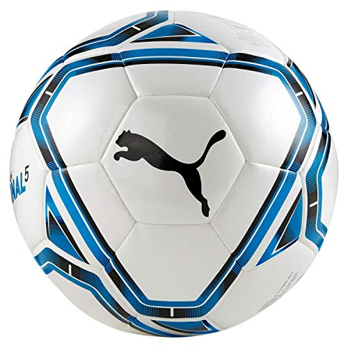 PUMA teamFINAL 21.5 Hybrid Ball Balón de Fútbol, Unisex-Adult, White-Electric Blue Lemonade-Peacoat, 4