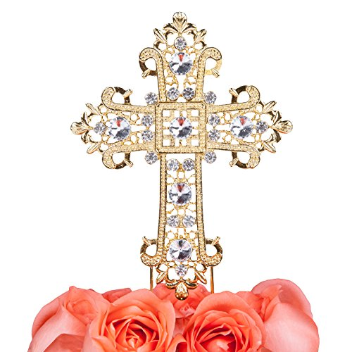 LOVENJOY Gift Box Pack Cross Rhinestone Crystal Gold Cake Decoration Topper for Wedding Religious Baptism Christening First Communion Confirmation (4.5-inch wide)