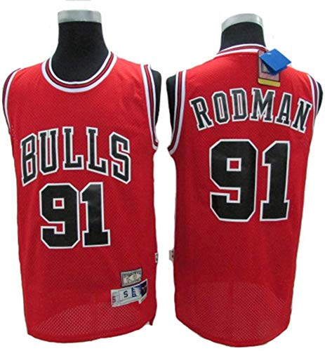 XXMM Camiseta para Hombre, NBA Chicago Bulls # 91 Dennis Rodman Camiseta De Baloncesto Retro, Tela Transpirable, Cómoda Y Ligera, Camiseta Sin Mangas,S(165~170CM)