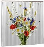 Duschvorhang Bouquet Schöne Blumen Kornblumen Weizen Mohn Isolierte Schatten Wasserdichter Stoff Badevorhang für s 72 x 72 Zoll